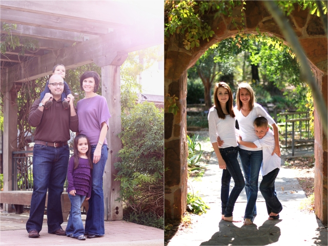 various family photographs with sunflare and backlighting
