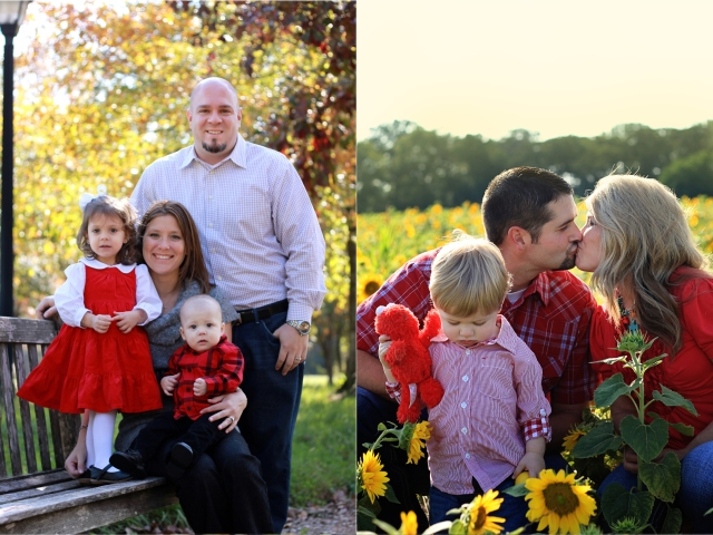 various family photos fall colors and sunflowers at sunset the woodlands family photographer