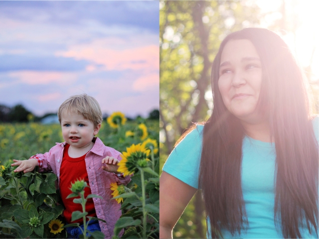 toddler boy in the sunflowers at sunset sun flare teenage girl the woodlands tx