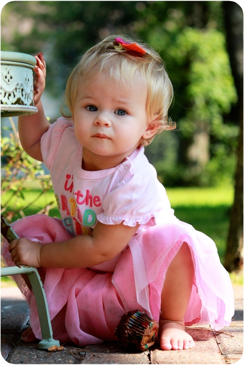pink dress one year old cake smash the woodlands