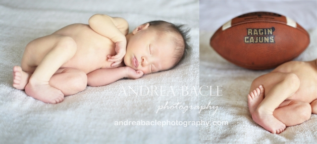 newborn boy with ragin' cajun football the woodlands tomball tx photographer