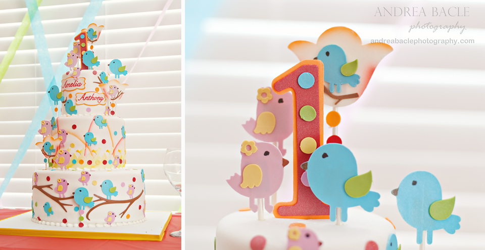 oneyearold twins birthday party with cake birdies The
