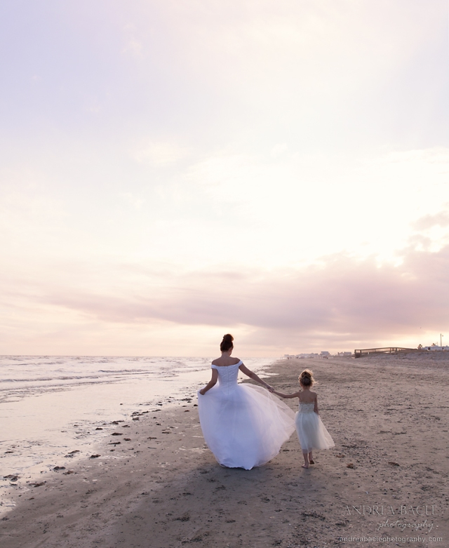 mommy and daughter wedding dresses on the beach