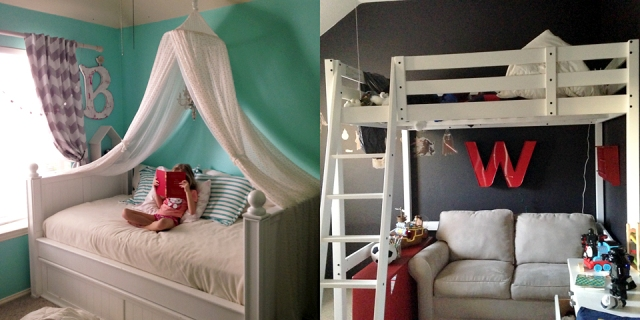 redecorated kids room with canopy and loft
