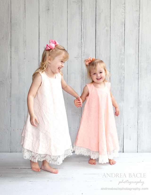 sweet sisters dancing homemade dresses