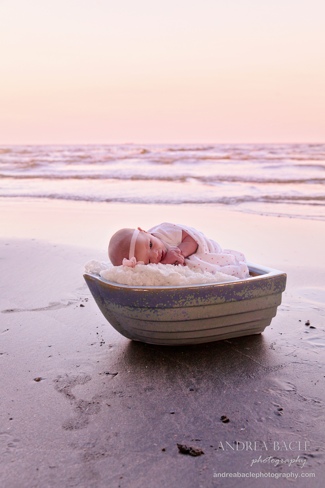 beach baby sunset