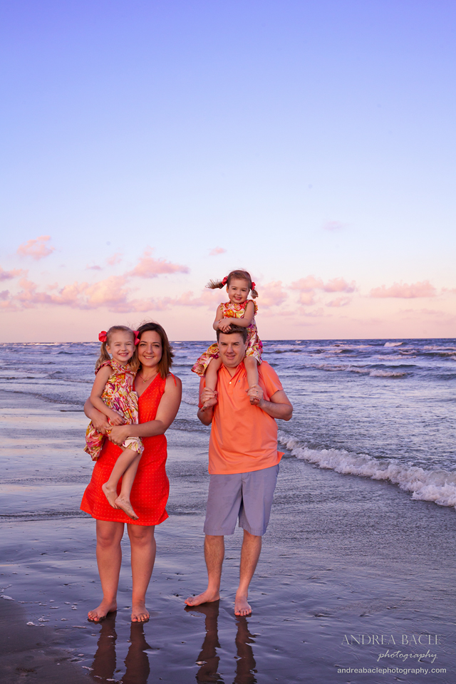family of four session galveston beachtown