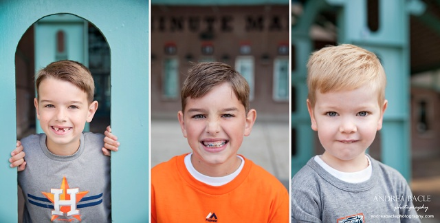 astros family session minute maid park three boys