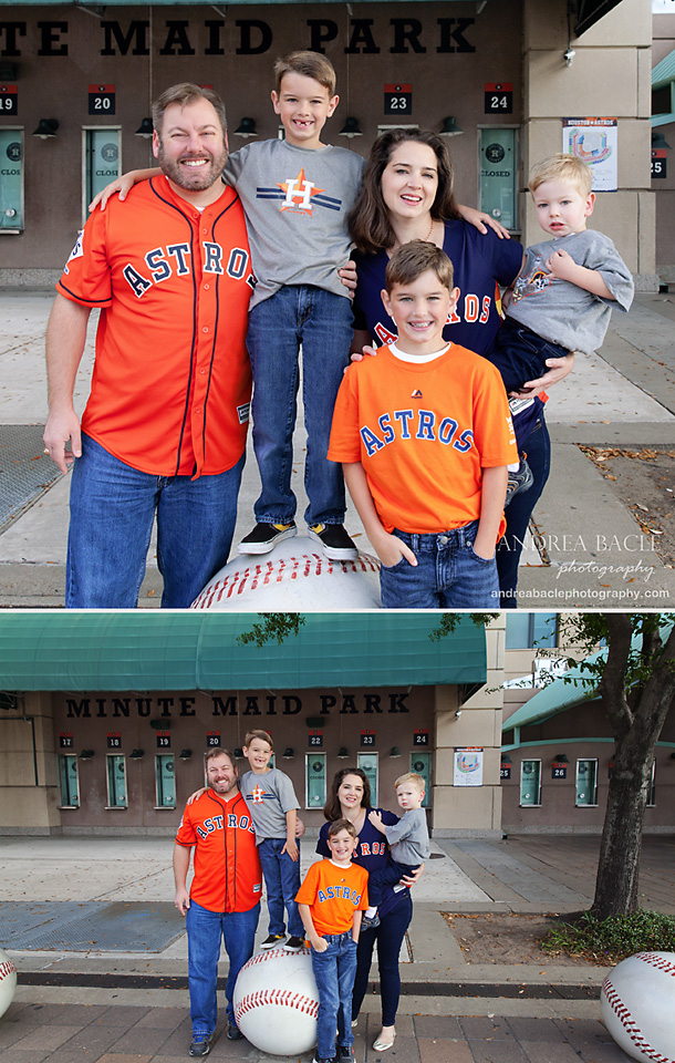 minute maid park family photo session three boys